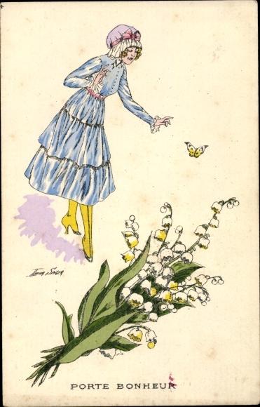 Künstler Ak Sager, Xavier, Porte Bonheur, Junge Frau, Schmetterling, Blumen
