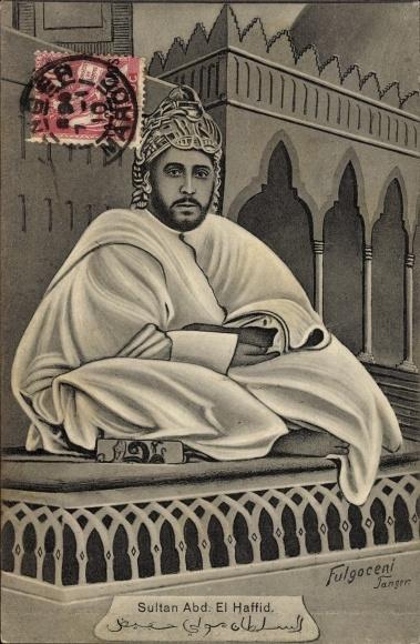 Künstler Ak Marokko, Sultan Abd. El Haffid, Portrait