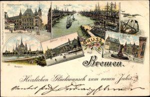 Litho Hansestadt Bremen, Gerichtsgebäude, Freihafen, Parkhaus, Bahnhof, Markt