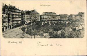 Ak Strasbourg Straßburg Elsass Bas Rhin, Bahnhofplatz