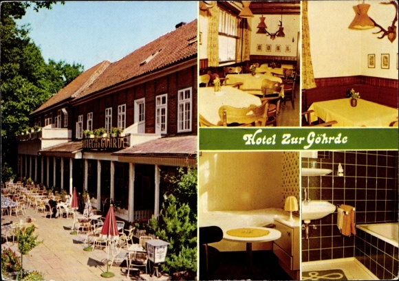 Ak Göhrde Gartow in Niedersachsen, Hotel zur Göhrde, Innen- und Außenansichten