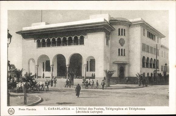 Ak Casablanca Marokko, L'Hôtel des Postes, Télégraphes et Téléphones