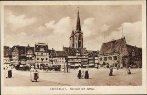 Ak Halberstadt in Sachsen Anhalt, Holzmarkt mit Rathaus