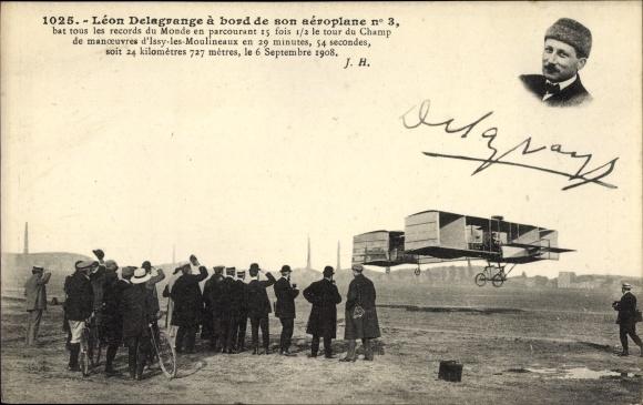 Ak Léon Delagrange à bord de son aéroplane No 3, Flugpionier