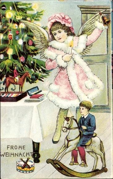 Ak Frohe Weihnachten, Engel, Kind auf einem Schaukelpferd, Tannenbaum