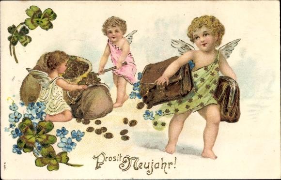 Präge Ak Glückwunsch Neujahr, Engel, Geldsäcke, Geldbörsen, Münzen, Kleeblätter