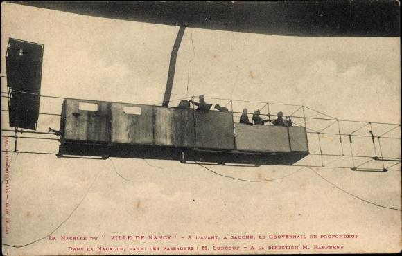 Ak La Nacelle du Ville de Nancy, Surcouf, Kapferer, Dirigéable, Luftschiff
