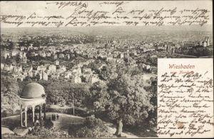 Ak Wiesbaden in Hessen, Panorama vom Ort vom Neroberg, Pavillon