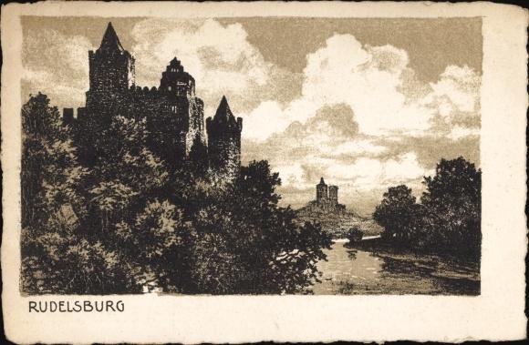Saaleck Bad Kösen Naumburg Saale, Rudelsburg, Gesamtansicht, Panorama