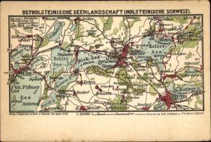 Landkarten Ak Eutin in Ostholstein, Ostholsteinische Seenlandschaft, Holsteinische Schweiz, Dieksee