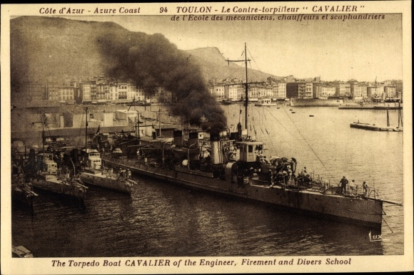 Ak Toulon Var, Französische Kriegsschiffe, Contre torpilleur Cavalier
