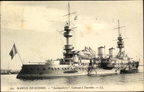 Ak Französisches Kriegsschiff, Jauréguiberry, Cuirassé à Tourelles, Marine Militaire Francaise