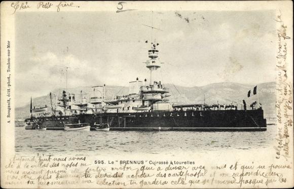 Ak Französisches Kriegsschiff, Les Brennus, Cuirassé a tourelles, Marine Militaire Francaise