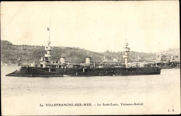 Ak Villefranche sur Mer, Französisches Kriegsschiff, Saint Louis, Vaisseau Amiral