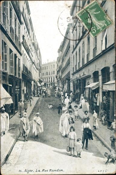 Ak Algier Alger Algerien, La Rue Randon, scène vivante