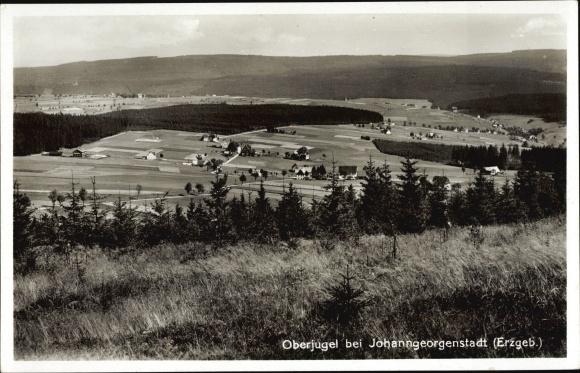 Ak Jugel Johanngeorgenstadt im Erzgebirge Sachsen, Panorama vom Ort