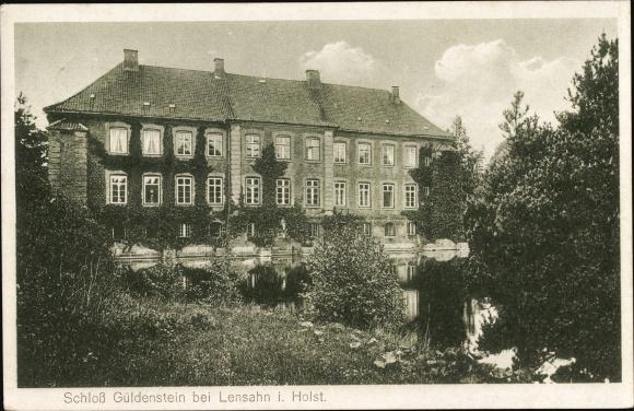 Ak Harmsdorf in Ostholstein, Schloss Güldenstein, Gesamtansicht, Uferpartie