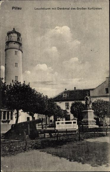Ak Baltijsk Pillau Kaliningrad Ostpreußen, Leuchtturm mit Denkmal des Großen Kurfürsten