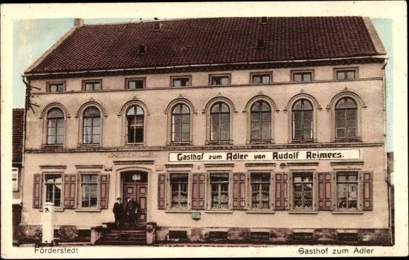 Ak Förderstedt Staßfurt Sachsen Anhalt, Gasthof zum Adler, Inh. Rudolf Reimers