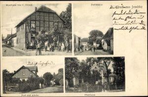 Ak Jembke Niedersachsen, Kaufhaus C. Fölsch, Dorfstraße, Post und Kirche, Pfarrhaus
