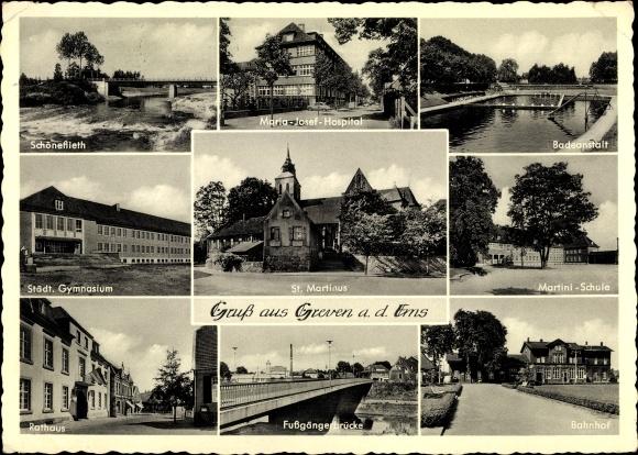 Ak Greven in Nordrhein Westfalen, Bahnhof, Maria Josef Hospital, Freibad, St. Martinus, Rathaus
