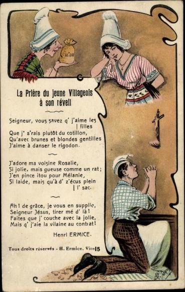 Künstler Ak La Priere du jeune Villageois a son reveil, Henri Ermice, Gebet