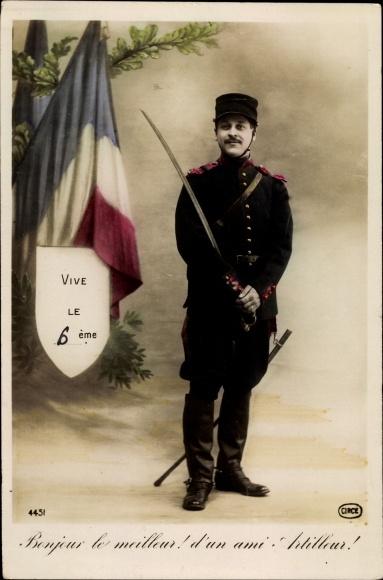 Ak Vive le 6eme, Französischer Soldat in Uniform mit Säbel