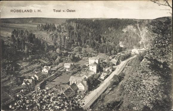 Ak Rübeland Oberharz am Brocken, Blick auf den Ort mit Umgebung von Osten