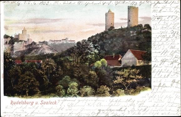 Ak Saaleck Bad Kösen Naumburg Saale, Rudelsburg, Teilansicht