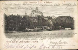 Ak Gremsmühlen Malente in Ostholstein, Hotel Holsteinische Schweiz und Kellersee, Fähre am Anleger