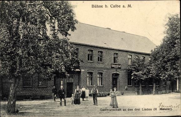 Ak Bühne Kalbe in Sachsen Anhalt, Gastwirtschaft zu den drei Linden, Inh. H. Metzler