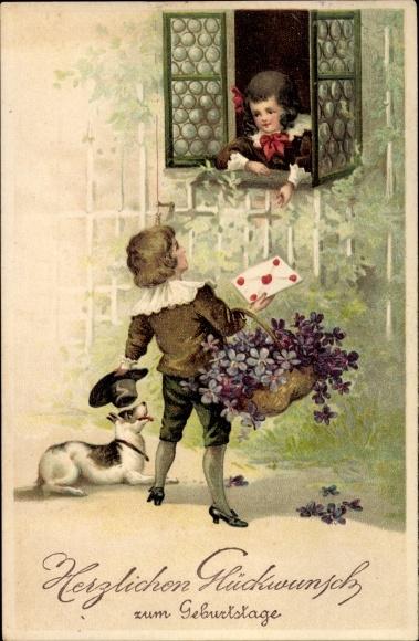 Präge Ak Glückwunsch Geburtstag, Kinder am Fenster, Blumenkorb, Hund