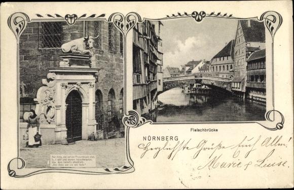 Ak Nürnberg in Mittelfranken Bayern, Partie an der Fleischbrücke, Fleischbrücke