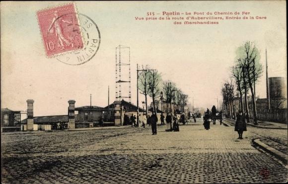 Ak Pantin Seine Saint Denis, Le Pont du Chemin de Fer