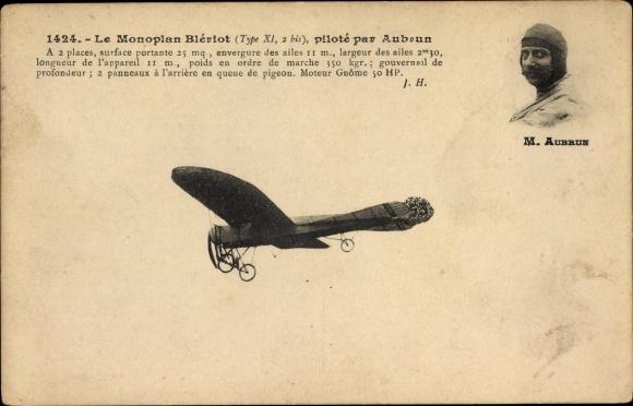 Ak Le Monoplan Blériot, piloté par Aubrun, Flugpionier
