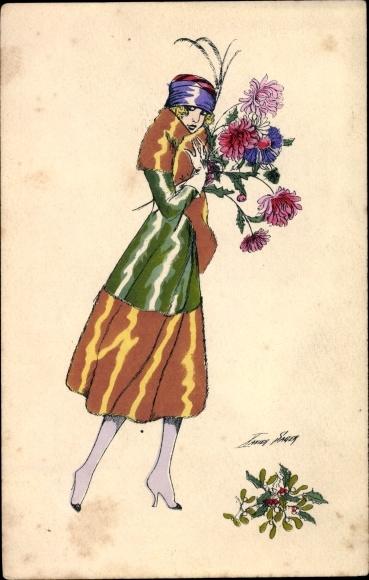 Künstler Ak Sager, Xavier, Junge Frau im Mantel, Blumen