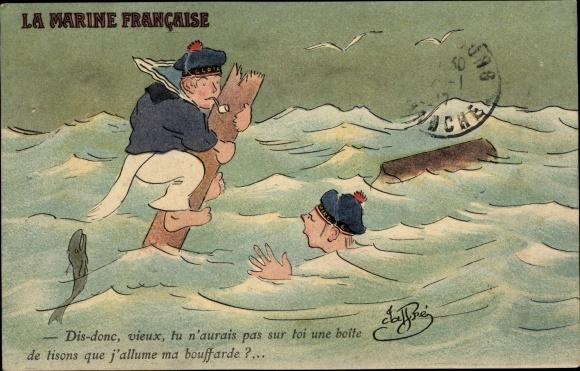 Künstler Ak La Marine Francaise, Zwei Matrosen nach Schiffsunglück