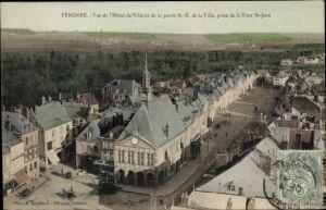 Ak Péronne Somme, Vue de l'Hôtel de Ville et de la partie NE de la Ville, prise de la Tour St. Jean