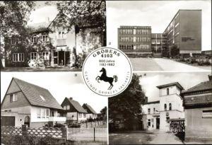 Ak Gröbers Kabelsketal im Saalekreis, Kulturhaus, Oberschule, Eigenheimsiedlung