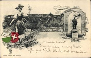 Wappen Ak Territet Montreux Kt. Waadt, Centenaire de l'Independance  Vaudoise