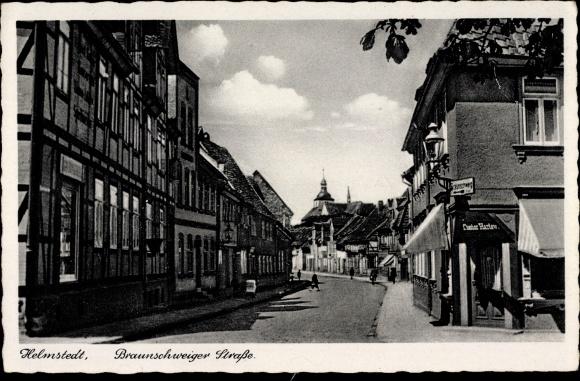 Ak Helmstedt in Niedersachsen, Braunschweiger Straße, Geschäfte