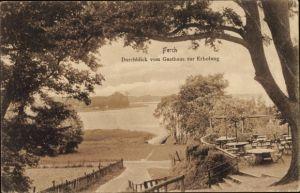 Ak Ferch Schwielowsee, Durchblick v. Gasthaus zur Erholung, Inh. C. Schmidt, Terrasse, Steg, Seeufer