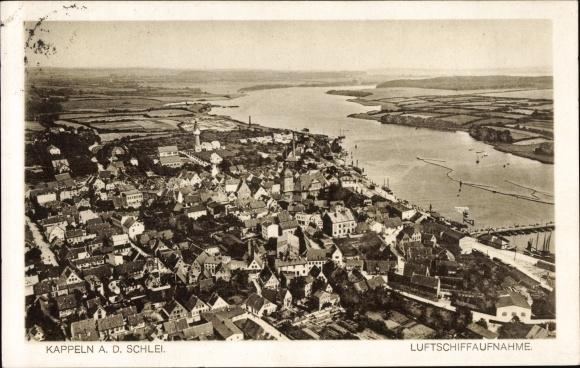 Ak Kappeln an der Schlei, Panorama vom Ort, Zeppelin Luftschiff Aufnahme