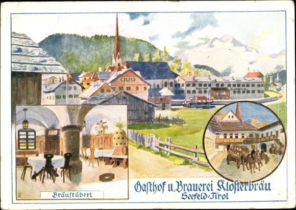Künstler Ak Seefeld in Tirol, Gasthof und Brauerei Klosterbräu, Bräustüberl