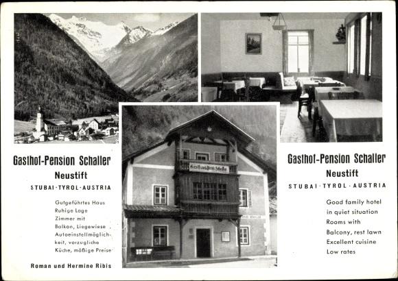 Ak Neustift im Stubaital in Tirol, Gasthof Pension Schaller, Inh. Ribis