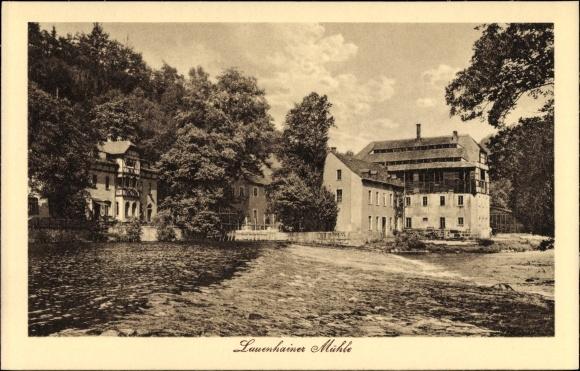Ak Mittweida in Sachsen, Flusspartie mit Blick auf die Lauenhainer Mühle, Wassermühle