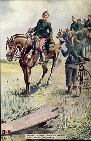 Künstler Ak Officier de Guides, un renseignement, Belgische Soldaten, I. WK