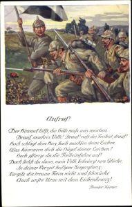 Künstler Ak Durst, J., Aufruf, Gedicht von Theodor Körner, Schlachtszene, I. WK
