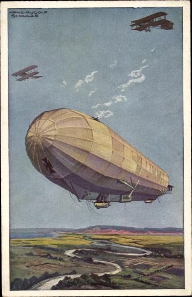 Künstler Ak Schulze, Hans Rudolf, Militärluftkreuzer Hansa im Kampf mit feindlichen Fliegern, I. WK