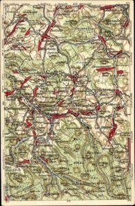 Landkarten Ak Grünhain Beierfeld im Erzgebirge Sachsen, Zwönitz, Schlettau, Schwarzenberg